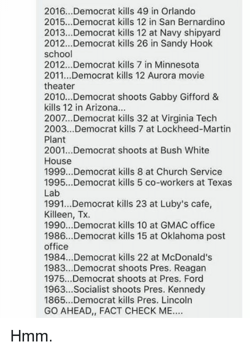 Church, Martin, and McDonalds: 2016.. .Democrat kills 49 in Orlando  2015...Democrat kills 12 in San Bernardino  2013...Democrat kills 12 at Navy shipyard  2012...Democrat kills 26 in Sandy Hook  school  2012...Democrat kills 7 in Minnesota  2011...Democrat kills 12 Aurora movie  theater  2010...Democrat shoots Gabby Gifford &  kills 12 in Arizona.  2007...Democrat kills 32 at Virginia Tech  2003...Democrat kills 7 at Lockheed-Martin  Plant  2001...Democrat shoots at Bush White  House  1999...Democrat kills 8 at Church Service  1995...Democrat kills 5 co-workers at Texas  Lab  1991...Democrat kills 23 at Luby's cafe,  Killeen, Tx.  1990...Democrat kills 10 at GMAC office  1986...Democrat kills 15 at Oklahoma post  office  1984...Democrat kills 22 at McDonald's  1983.Democrat shoots Pres. Reagan  1975...Democrat shoots at Pres. Ford  1963...Socialist shoots Pres. Kennedy  1865...Democrat kills Pres. Lincoln  GO AHEAD, FACT CHECK ME Hmm.