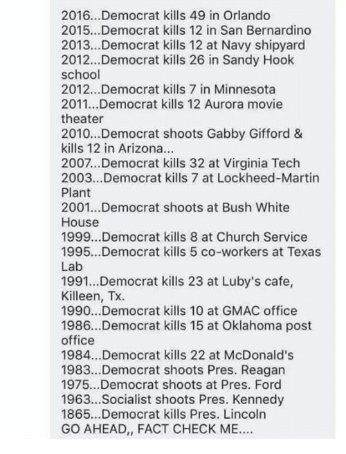 Church, Martin, and McDonalds: 2016.. .Democrat kills 49 in Orlando  2015...Democrat kills 12 in San Bernardino  2013...Democrat kills 12 at Navy shipyard  2012...Democrat kills 26 in Sandy Hook  school  2012...Democrat kills 7 in Minnesota  2011...Democrat kills 12 Aurora movie  theater  2010..Democrat shoots Gabby Gifford &  kills 12 in Arizona.  2007...Democrat kills 32 at Virginia Tech  2003...Democrat kills 7 at Lockheed-Martin  Plant  2001...Democrat shoots at Bush White  House  1999...Democrat kills 8 at Church Service  1995...Democrat kills 5 co-workers at Texas  Lab  1991...Democrat kills 23 at Luby's cafe,  Killeen, Tx.  1990...Democrat kills 10 at GMAC office  1986...Democrat kills 15 at Oklahoma post  office  1984...Democrat kills 22 at McDonald's  1983..Democrat shoots Pres. Reagan  1975...Democrat shoots at Pres. Ford  1963...Socialist shoots Pres. Kennedy  1865...Democrat kills Pres. Lincoln  GO AHEAD, FACT CHECK ME.