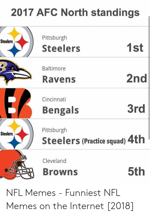 Memes Funniest: 2017 AFC North standings  Pittsburgh  Steelers  Steelers  1st  2nd  3rd  Steelers (Practice squad) 4th  5th  Baltimore  Ravens  Cincinnati  Bengals  Pittsburgh  Steelers  Cleveland  Browns NFL Memes - Funniest NFL Memes on the Internet [2018]