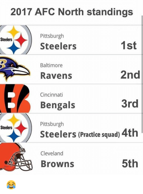 Cincinnati Bengals: 2017 AFC North standings  Pittsburgh  Steelers  Steelers  1st  Baltimore  2nd  3rd  Steelers (Practice squad) 4th  5th  Ravens  Cincinnati  Bengals  Pittsburgh  Steelers  Cleveland  Browns 😂
