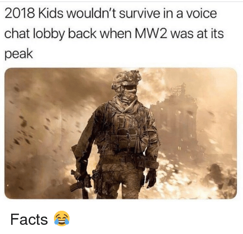 Facts, Funny, and Chat: 2018 Kids wouldn't survive in a voice  chat lobby back when MW2 was at its  peak Facts 😂