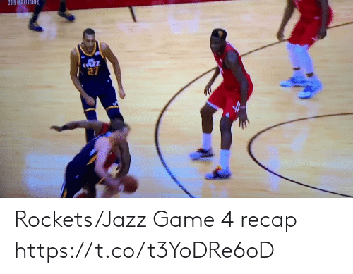 Nba, Sports, and Game: 2019 NBA PLAYOIRS Rockets/Jazz Game 4 recap https://t.co/t3YoDRe6oD