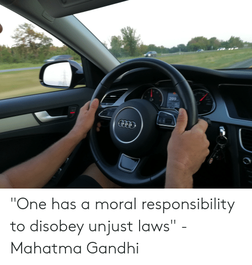 """one has a moral responsibility to disobey unjust laws: 209 """"One has a moral responsibility to disobey unjust laws"""" - Mahatma Gandhi"""