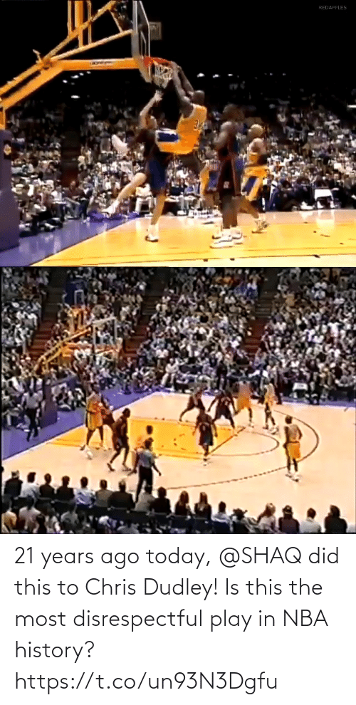 Today: 21 years ago today, @SHAQ did this to Chris Dudley!  Is this the most disrespectful play in NBA history? https://t.co/un93N3Dgfu