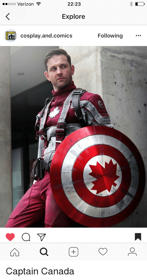 Canadã¡: 22:23  ooo Verizon  Explore  COM  cosplay.and.comics  Following Captain Canada