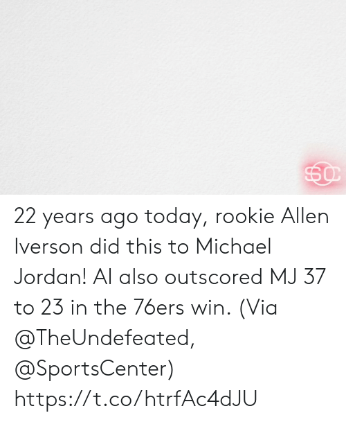 Iverson: 22 years ago today, rookie Allen Iverson did this to Michael Jordan!   AI also outscored MJ 37 to 23 in the 76ers win.   (Via @TheUndefeated, @SportsCenter) https://t.co/htrfAc4dJU