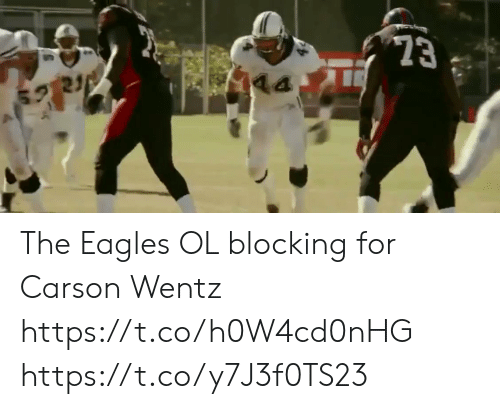 the eagles: 23  21 The  Eagles OL blocking for Carson Wentz https://t.co/h0W4cd0nHG https://t.co/y7J3f0TS23