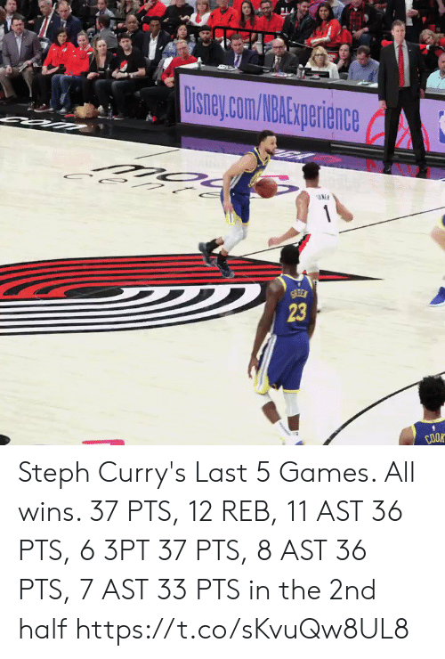 Steph: 23  COOR Steph Curry's Last 5 Games. All wins.   37 PTS, 12 REB, 11 AST 36 PTS, 6 3PT 37 PTS, 8 AST 36 PTS, 7 AST 33 PTS in the 2nd half   https://t.co/sKvuQw8UL8