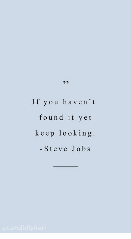 Steve Jobs: 23  If you haven't  found it yet  keep looking.  - Steve Jobs
