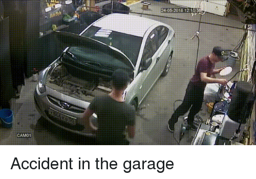 Funny, Garage, and Accident: 24-05-2018 12:10  CAM01 Accident in the garage