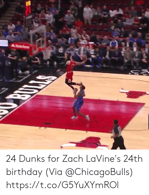 Birthday, Memes, and 🤖: 24 Dunks for Zach LaVine's 24th birthday   (Via @ChicagoBulls)  https://t.co/G5YuXYmROl
