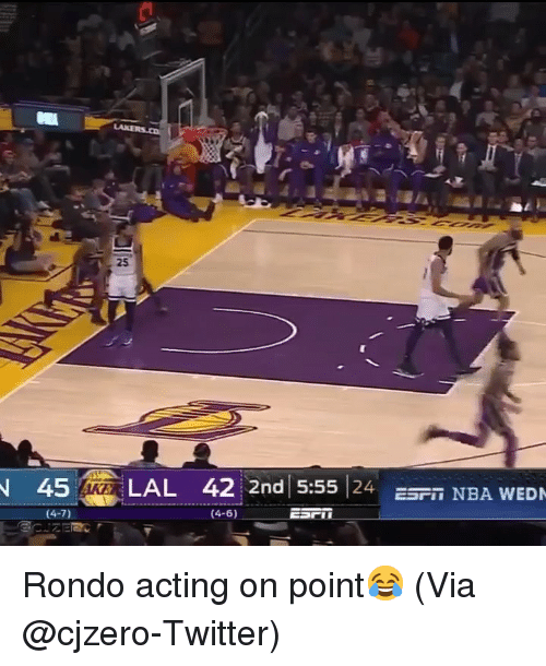 rondo: 25  45 LAL 42  2nd 5:55 24 S NBA WED Rondo acting on point😂 (Via @cjzero-Twitter)
