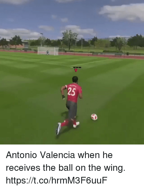 Memes, 🤖, and Valencia: 25 Antonio Valencia when he receives the ball on the wing.  https://t.co/hrmM3F6uuF