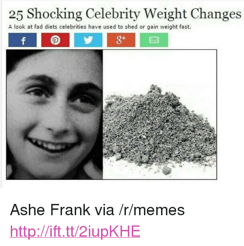 """Diets: 25 Shocking Celebrity Weight Changes  A look at fad diets celebrities have used to shed or gain weight fast. <p>Ashe Frank via /r/memes <a href=""""http://ift.tt/2iupKHE"""">http://ift.tt/2iupKHE</a></p>"""