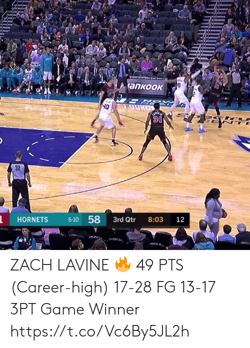 Memes, Zach LaVine, and Game: 25  y  ankook  SURO  Oh  34  TE  3a  6-10 58  HORNETS  3rd Qtr  8:03  12 ZACH LAVINE 🔥  49 PTS (Career-high) 17-28 FG 13-17 3PT Game Winner  https://t.co/Vc6By5JL2h