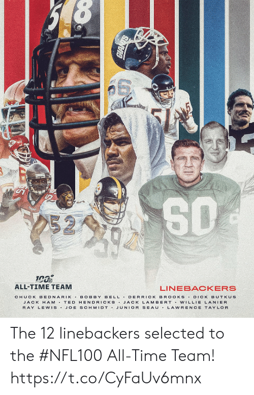 ray: 252  ALL-TIME TEAM  LINEBACKERS  BELL DERRICK BR OOKS  CHUCK BEDNARIK  BOBBY  DICK BUTKUS  JACK H AM T ED HENDRICKS JACK LAMBERT Vw ILLIE LANIER  JUNIOR SEAU  RAY LEWIS.  JOE SCHMIDT .  LAWRENCE TAYLOR The 12 linebackers selected to the #NFL100 All-Time Team! https://t.co/CyFaUv6mnx
