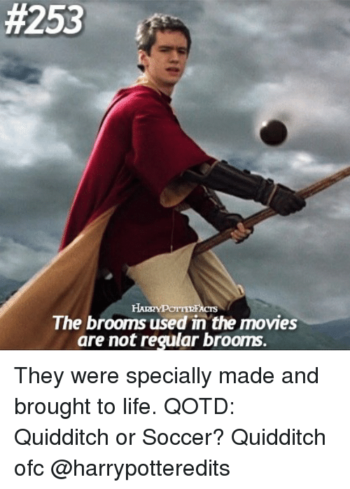 Quidditch:  #253  The brooms used in the movies  are not regular brooms. They were specially made and brought to life. QOTD: Quidditch or Soccer? Quidditch ofc @harrypotteredits