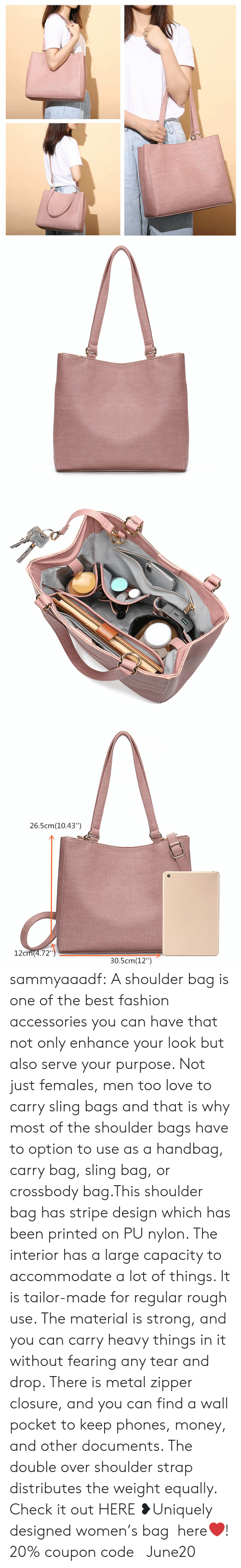"Fashion, Love, and Money: 26.5cm(10.43"")  12cm(4.72"")  30.5cm(12"") sammyaaadf: A shoulder bag is one of the best fashion accessories you can have that not only enhance your look but also serve your purpose. Not just females, men too love to carry sling bags and that is why most of the shoulder bags have to option to use as a handbag, carry bag, sling bag, or crossbody bag.This shoulder bag has stripe design which has been printed on PU nylon. The interior has a large capacity to accommodate a lot of things. It is tailor-made for regular rough use. The material is strong, and you can carry heavy things in it without fearing any tear and drop. There is metal zipper closure, and you can find a wall pocket to keep phones, money, and other documents. The double over shoulder strap distributes the weight equally.  Check it out HERE ❥Uniquely designed women's bag  here❤! 20% coupon code: June20"