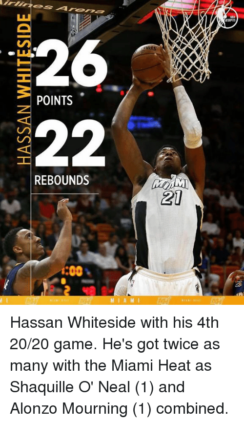 The Miami Heat: 26  POINTS  22  REBOUNDS  i:00  M I A M I  AXXO  21 Hassan Whiteside with his 4th 20/20 game.  He's got twice as many with the Miami Heat as Shaquille O' Neal (1) and Alonzo Mourning (1) combined.