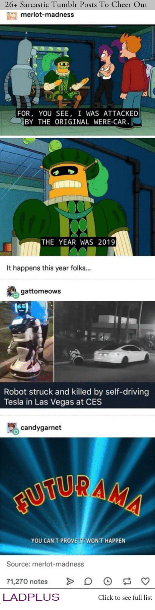 Las Vegas: 26+ Sarcastic Tumblr Posts To Cheer Out  merlot-madness  FOR, YOU SEE, I WAS ATTACKED  BY THE ORIGINAL WERE-CAR  THE YEAR WAS 2019  It happens this year folks...  gattomeows  Robot struck and killed by self-driving  Tesla in Las Vegas at CES  candygarnet  FUTURAMA  YOU CAN'T PROVE IT WON'T HAPPEN  Source: merlot-madness  71,270 notes  LADPLUS  Click to see full list