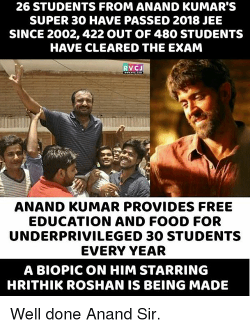 Food, Memes, and Free: 26 STUDENTS FROM ANAND KUMAR'S  SUPER 30 HAVE PASSED 2018 JEE  SINCE 2002, 422 OUT OF 480 STUDENTS  HAVE CLEARED THE EXAM  RVCJ  ANAND KUMAR PROVIDES FREE  EDUCATION AND FOOD FOR  UNDERPRIVILEGED 30 STUDENTS  EVERY YEAR  A BIOPIC ON HIM STARRING  HRITHIK ROSHAN IS BEING MADE Well done Anand Sir.