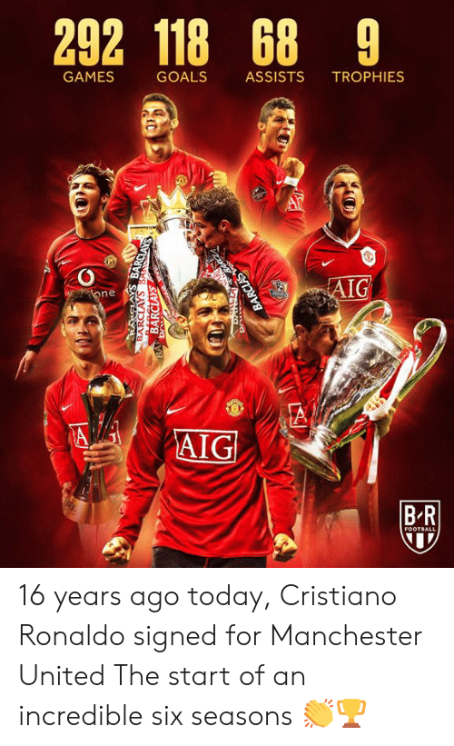 Cristiano Ronaldo, Football, and Goals: 292 118 68 9  GAMES  GOALS  ASSISTS  TROPHIES  AIG  one  A  AIG  BR  FOOTBALL  BARCLAYS BANSCLAYS  BARCLAYS  BA Dr  BARCLAS 16 years ago today, Cristiano Ronaldo signed for Manchester United  The start of an incredible six seasons 👏🏆