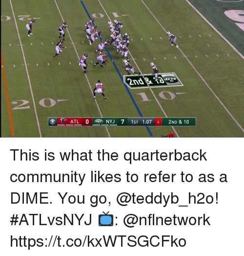 h2o: 2D  2  ATL 0 NYJ 7 1ST 1:07 4 2ND & 10 This is what the quarterback community likes to refer to as a DIME. You go, @teddyb_h2o! #ATLvsNYJ  📺: @nflnetwork https://t.co/kxWTSGCFko