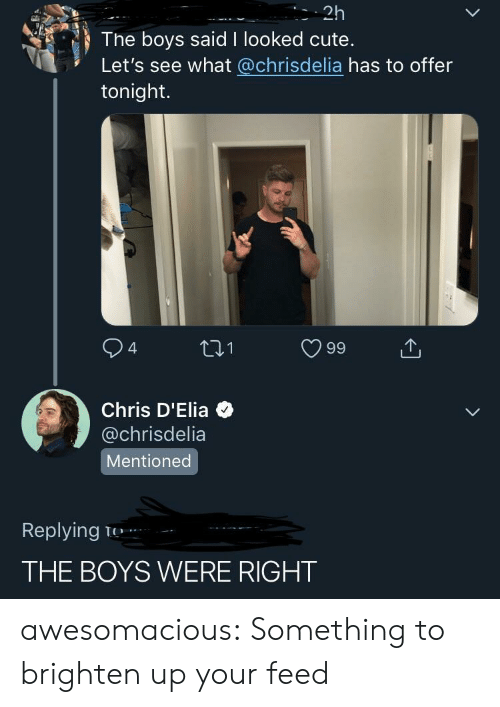 Cute, Tumblr, and Blog: 2h  The boys said I looked cute.  Let's see what @chrisdelia has to offer  tonight.  94 ti1 99  Chris D'Elia  @chrisdelia  Mentioned  Replying T  THE BOYS WERE RIGHT awesomacious:  Something to brighten up your feed