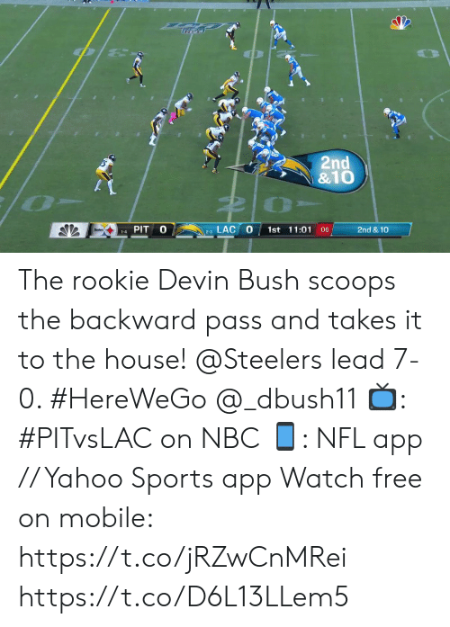 Memes, Nfl, and Sports: 2nd  &10  LAC  PIT  1st 11:01 :06  2nd &10  1-4  2-3 The rookie Devin Bush scoops the backward pass and takes it to the house!   @Steelers lead 7-0. #HereWeGo @_dbush11  📺: #PITvsLAC on NBC 📱: NFL app // Yahoo Sports app Watch free on mobile: https://t.co/jRZwCnMRei https://t.co/D6L13LLem5