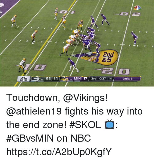 Memes, Vikings, and 🤖: 2nd  &5  210  4-51 GB 145-41 MIN 173rd 0:37 :19 2nd & 5  5-4-1 Touchdown, @Vikings! @athielen19 fights his way into the end zone! #SKOL  📺: #GBvsMIN on NBC https://t.co/A2bUp0KgfY