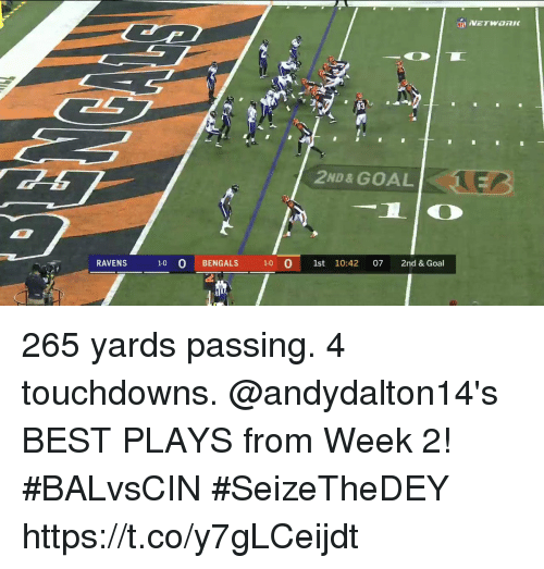 Anaconda, Memes, and Bengals: 2ND& GOAL  RAVENS 1-0 0 BENGALS 100 1st 10:42 07 2nd & Goal 265 yards passing. 4 touchdowns.  @andydalton14's BEST PLAYS from Week 2! #BALvsCIN #SeizeTheDEY https://t.co/y7gLCeijdt