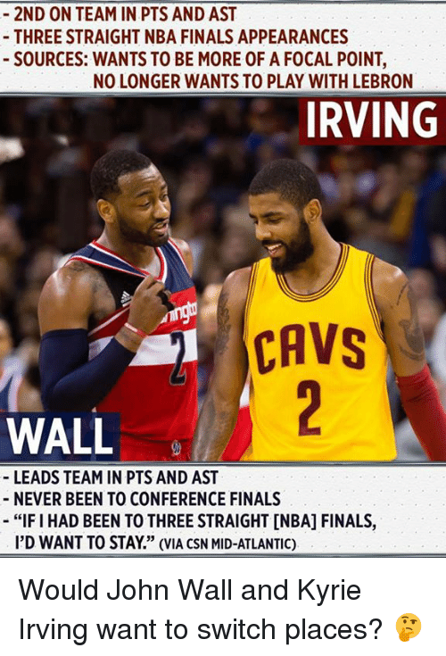 "Cavs, Finals, and John Wall: 2ND ON TEAM IN PTS AND AST  THREE STRAIGHT NBA FINALS APPEARANCES  SOURCES: WANTS TO BE MORE OF A FOCAL POINT,  NO LONGER WANTS TO PLAY WITH LEBRON  IRVING  CAVS  WALL  LEADS TEAM IN PTS AND AST  NEVER BEEN TO CONFERENCE FINALS  -""FI HAD BEEN TO THREE STRAIGHT [NBA] FINALS,  I'D WANT TO STAY"" (VIA CSN MID-ATLANTIC) Would John Wall and Kyrie Irving want to switch places? 🤔"