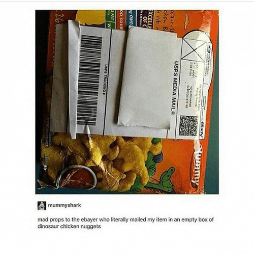 Dinosaur, Ironic, and Chicken: 3  3  mummyshark  mad props to the ebayer who literally mailed my item in an empty box of  dinosaur chicken nuggets