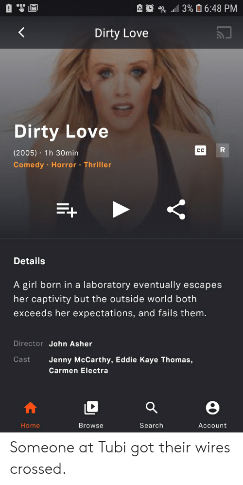 Love, Thriller, and Carmen Electra: 3% 6:48 PM  4  Dirty Love  Dirty Love  R  CC  (2005) 1h 30min  Comedy Horror Thriller  Details  A girl born in a laboratory eventually escapes  her captivity but the outside world both  exceeds her expectations, and fails them.  Director John Asher  Cast  Jenny McCarthy, Eddie Kaye Thomas,  Carmen Electra  Home  Search  Browse  Account  V Someone at Tubi got their wires crossed.