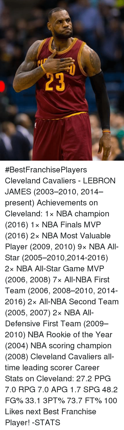 nba all stars: 3 #BestFranchisePlayers  Cleveland Cavaliers - LEBRON JAMES (2003–2010, 2014–present)  Achievements on Cleveland: 1× NBA champion (2016) 1× NBA Finals MVP (2016) 2× NBA Most Valuable Player (2009, 2010) 9× NBA All-Star (2005–2010,2014-2016) 2× NBA All-Star Game MVP (2006, 2008) 7× All-NBA First Team (2006, 2008–2010, 2014-2016) 2× All-NBA Second Team (2005, 2007) 2× NBA All-Defensive First Team (2009–2010) NBA Rookie of the Year (2004) NBA scoring champion (2008) Cleveland Cavaliers all-time leading scorer  Career Stats on Cleveland: 27.2 PPG 7.0 RPG 7.0 APG 1.7 SPG 48.2 FG% 33.1 3PT% 73.7 FT%  100 Likes next Best Franchise Player!  -STATS