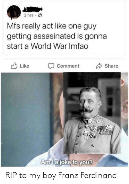 Hrs: 3 hrs ·  Mfs really act like one guy  getting assasinated is gonna  start a World War Imfao  O Like  Share  Comment  Amlajoke to you? RIP to my boy Franz Ferdinand