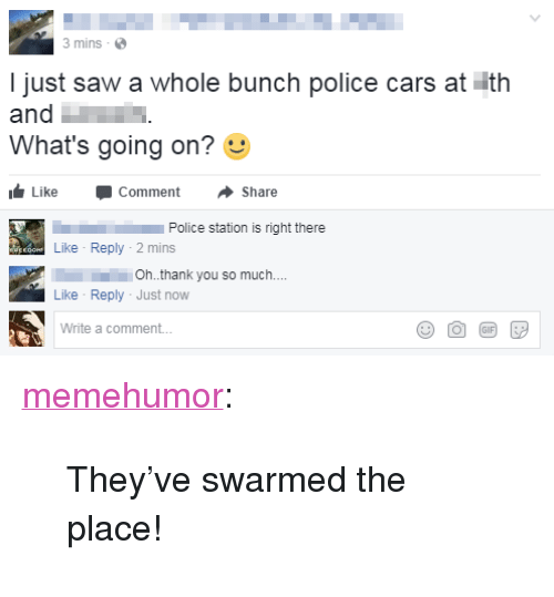 """police cars: 3 mins  I just saw a whole bunch police cars at ith  and  What's going on?  Like -Comment ·Share  Police station is right there  Like Reply-2 mins  111.  Like Reply Just now  Write a comment..  Oh.thank you so much.. <p><a href=""""http://memehumor.net/post/163180403748/theyve-swarmed-the-place"""" class=""""tumblr_blog"""">memehumor</a>:</p>  <blockquote><p>They've swarmed the place!</p></blockquote>"""