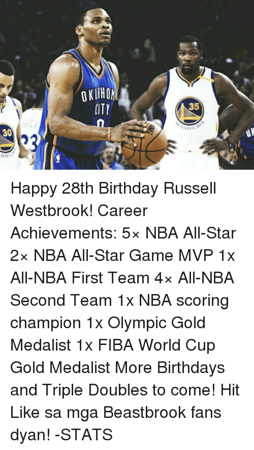 nba all stars: 30  RR  PITY  35  YRIOR Happy 28th Birthday Russell Westbrook!  Career Achievements: 5× NBA All-Star 2× NBA All-Star Game MVP 1x All-NBA First Team 4× All-NBA Second Team 1x NBA scoring champion 1x Olympic Gold Medalist 1x FIBA World Cup Gold Medalist  More Birthdays and Triple Doubles to come!  Hit Like sa mga Beastbrook fans dyan!  -STATS