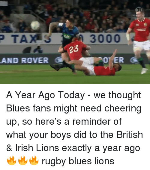 Irish, Lions, and Today: 3000  23  AND ROVER A Year Ago Today - we thought Blues fans might need cheering up, so here's a reminder of what your boys did to the British & Irish Lions exactly a year ago 🔥🔥🔥 rugby blues lions