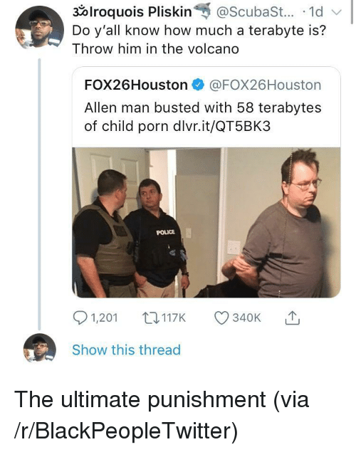 Blackpeopletwitter, Police, and Porn: 30lroquois Pliskin@ScubaSt....1d  Do y'all know how much a terabyte is?  Throw him in the volcand  FOX26Houston @FOX26Houston  Allen man busted with 58 terabytes  of child porn dlvr.it/QT5BK3  POLICE  1,201 t3117K 340K T  Show this thread <p>The ultimate punishment (via /r/BlackPeopleTwitter)</p>