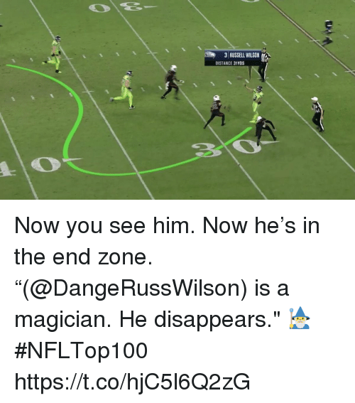"""Memes, Russell Wilson, and 🤖: 31 RUSSELL WILSON  DISTANCE 31YDS Now you see him. Now he's in the end zone.  """"(@DangeRussWilson) is a magician. He disappears."""" 🧙♂️  #NFLTop100 https://t.co/hjC5l6Q2zG"""