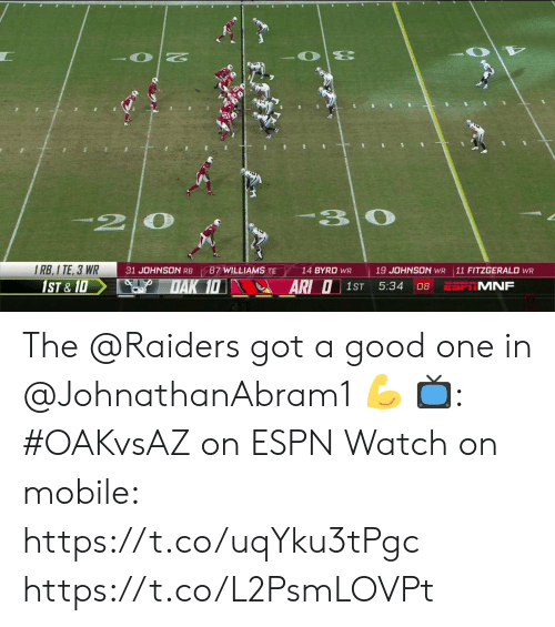 Good One: 33  30  2  1 RB,1 TE, 3 WR  1ST & 1D  31 JOHNSON RB  87 WILLIAMS TE  14 BYRD WR  19 JOHNSON WR  11 FITZGERALD WR  DAK 10  ARI O  5:34  MNF  1ST  08 The @Raiders got a good one in @JohnathanAbram1 💪  📺: #OAKvsAZ on ESPN Watch on mobile: https://t.co/uqYku3tPgc https://t.co/L2PsmLOVPt