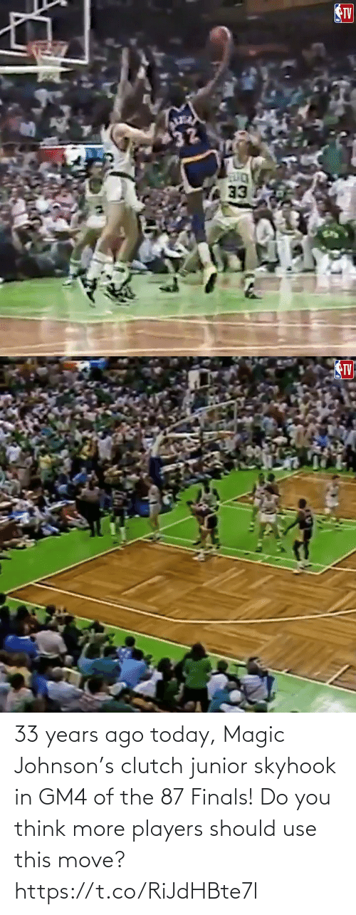 Should: 33 years ago today, Magic Johnson's clutch junior skyhook in GM4 of the 87 Finals!   Do you think more players should use this move?   https://t.co/RiJdHBte7l