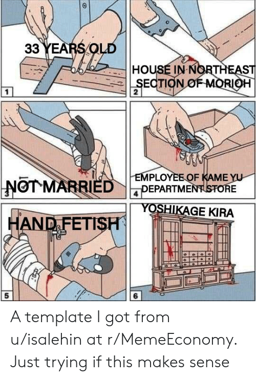 Hand Fetish: 33 YEARS OLD  HOUSE IN NORTHEAST  SECTION OFMORIOH  2  EMPLOYEEOF KAME YU  DEPARTMENTSTORE  NOT MARRIED  YOSHIKAGE KIRA  HAND FETISH  5 A template I got from u/isalehin at r/MemeEconomy. Just trying if this makes sense