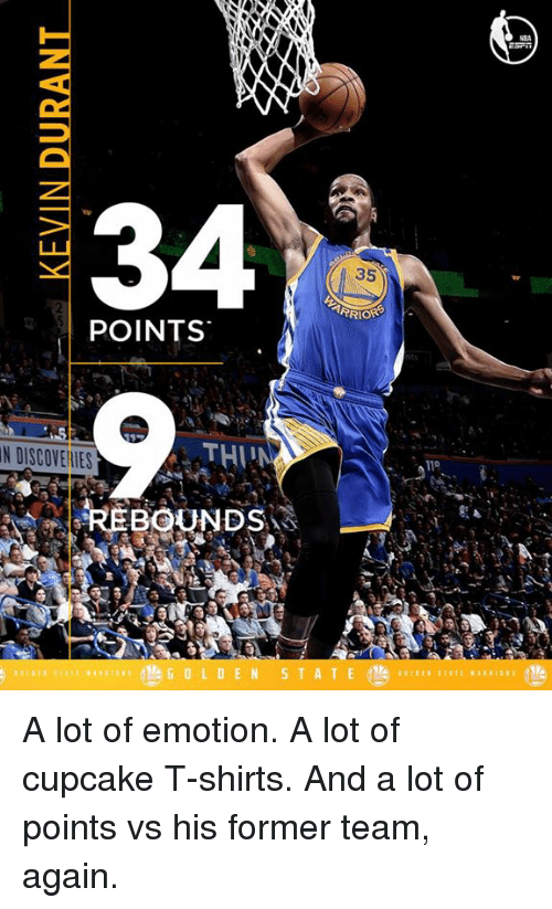 Cupcaking: 34  35  TARRIORS  POINTS  THI  N DISCOVEllES  REBOUNDS  GOL DEN  S T A T E  110 A lot of emotion. A lot of cupcake T-shirts. And a lot of points vs his former team, again.