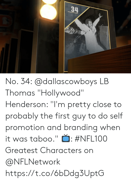 "Memes, 🤖, and Thomas: 34 No. 34: @dallascowboys LB Thomas ""Hollywood"" Henderson: ""I'm pretty close to probably the first guy to do self promotion and branding when it was taboo.""   📺: #NFL100 Greatest Characters on @NFLNetwork https://t.co/6bDdg3UptG"