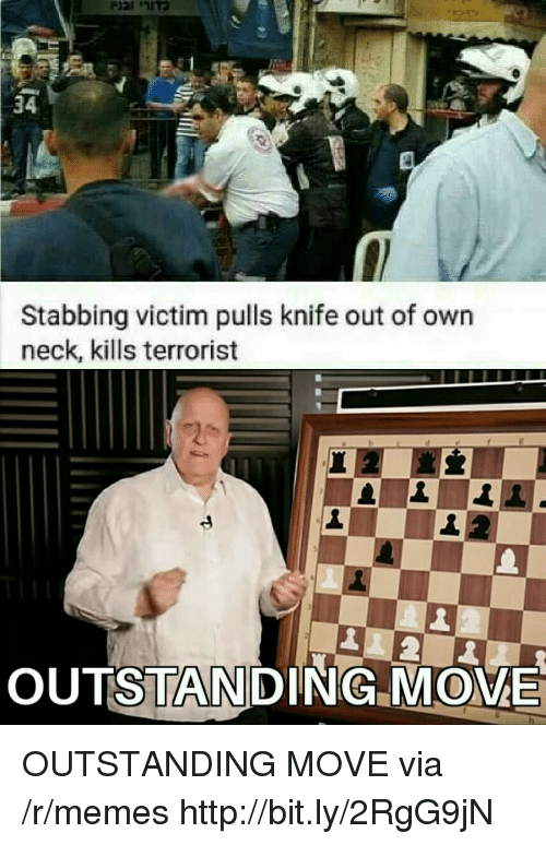 Memes, Http, and Via: 34  Stabbing victim pulls knife out of own  neck, kills terrorist  OUTSTANDING MOME OUTSTANDING MOVE via /r/memes http://bit.ly/2RgG9jN
