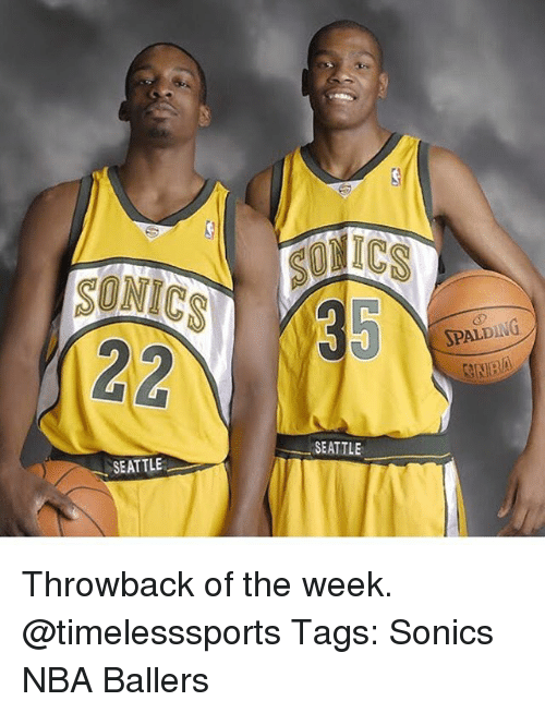 spalding: 35  SPALDING  SEATTLE  SEATTLE Throwback of the week. @timelesssports Tags: Sonics NBA Ballers
