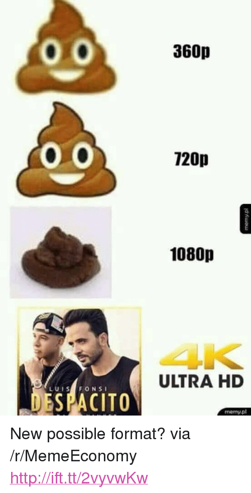 "Http, Via, and Format: 360p  120p  1080p  4K  ULTRA HD  LUIS FONSI  ESPACITO  memy.pl <p>New possible format? via /r/MemeEconomy <a href=""http://ift.tt/2vyvwKw"">http://ift.tt/2vyvwKw</a></p>"