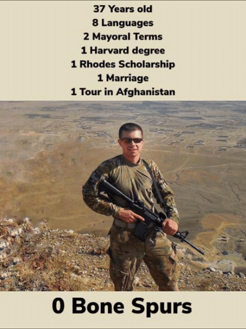 rhodes: 37 Years old  8 Languages  2 Mayoral Terms  1 Harvard degree  1 Rhodes Scholarship  1 Marriage  1 Tour in Afghanistan  0 Bone Spurs